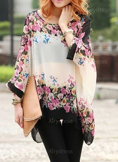 Love this Breezy Floral Design! Sheer and BreezyScoop Neck Flower Print Batwing Sleeve Chiffon Blouse Print Chiffon, Floral Chiffon, Chiffon Tops, Chiffon Blouses, Manga Del Batwing, Batwing Sleeve, Long Sleeve, Womens Trendy Tops, Fashion 2017