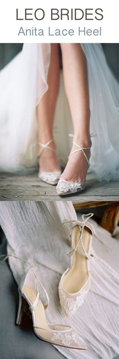 For Leo Brides! The Bella Belle Anita lace wedding shoes are a vision of classic, timeless, elegant, sophistication and feminine. Featuring a ballerina ankle tie strap that elongates your legs, extra padding for extra comfort for your feet, and high quality floral lace details for your shoes to look amazing on pictures, these wedding heels are a vision of beauty! Photography: Bethany Erin #highheelsphotography #anklestrapsheelswedding #shoeshighheelsbeautiful #weddingshoes