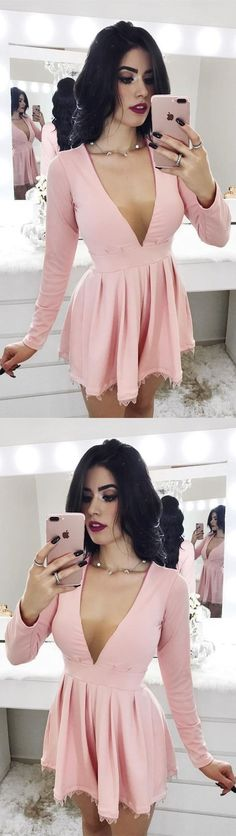 Simple Prom Dress, A-Line Deep V-Neck Long Sleeves Short Pink Homecoming Dress with Lace Saloni Dresses Open Back Prom Dresses, Simple Prom Dress, Prom Dresses Long With Sleeves, Long Prom Gowns, Plus Size Prom Dresses, Champagne Homecoming Dresses, Gold Prom Dresses, Cheap Prom Dresses, Sexy Dresses