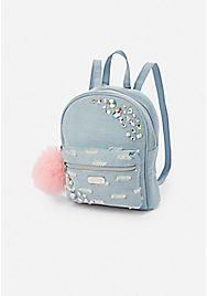 Justice is your one-stop-shop for on-trend styles in tween girls clothing & accessories. Shop our Jeweled Distressed Denim Backpack . Cheap Purses, Purses For Sale, Cute Purses, Denim Backpack, Fashion Backpack, Small Backpack, Women's Crossbody Purse, Leather Crossbody, Chain Shoulder Bag