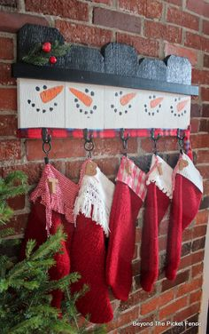 12 Days of Christmas Day 8 Stocking Hanger Make a Snowman Stocking H. - 12 Days of Christmas Day 8 Stocking Hanger Make a Snowman Stocking Hanger From Fence Sc - Wooden Christmas Decorations, Christmas Wood Crafts, Farmhouse Christmas Decor, Rustic Christmas, Simple Christmas, Holiday Crafts, Christmas Holidays, Christmas Ornaments, Room Decorations
