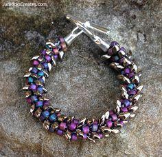 Kumihimo Beaded Bracelet - Silver Magatamas and Purple Seed Beads