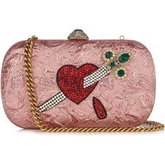 Gucci Broadway crystal-embellished clutch found on Polyvore featuring bags, handbags, clutches, gucci, pink multi, heart purse, pink handbags, gucci purses, floral purse and metallic purse