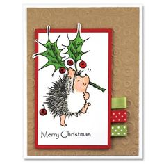 A Thorny Affair - Penny Black, Inc. Christmas Tag, Handmade Christmas, Christmas Crafts, Xmas, Christmas Ornaments, Penny Black Cards, Penny Black Stamps, Winter Cards, Hedgehogs