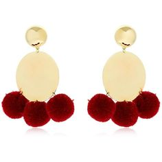 Elizabeth And James Women Stevie Pompom Earrings ($240) ❤ liked on Polyvore featuring jewelry, earrings, bordeaux, elizabeth and james, pom pom jewelry, lightweight earrings, earring jewelry and pom pom jewellery