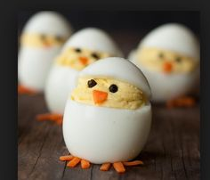 Clever way to serve deviled eggs! So cute!