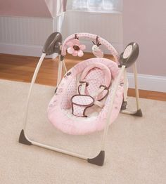 $79.99-$79.99 Baby Carter's Cuddle Me Travel Swing - Love BugFeatures:-Deluxe cradling, embroidered seat pad and head support-3 swing speeds with timer-Pivoting toybar with 2 soft removable toys-3 music melodies, 2 nature sounds, and womb sound-folding frame, perfect to take with youRecommended Use: From birth up to 30 lbs.