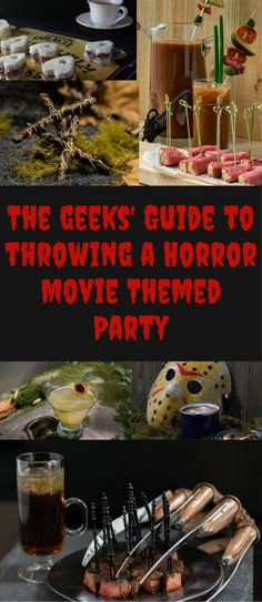 Halloween Recipes The Geeks share their tips for planning the perfect Horror Movie Themed Party! Horror Movie Costumes, Halloween Horror Movies, Horror Party, Horror Movie Characters, Scary Movies, Horror Costume, Halloween Movie Night, Movie Night Party, Halloween Party Themes
