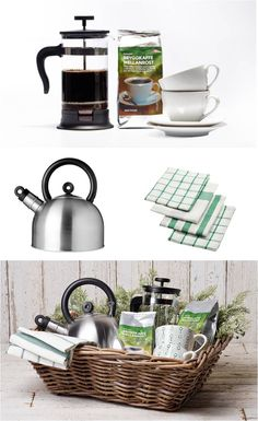 Holiday Gift Baskets Made Easy by IKEA - Start by picking a theme, like this coffee lovers dream, and add a variety of items and some fresh flowers to create a complete experience. All they have to do is enjoy!