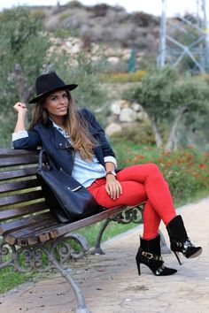 Red Jeans black jacket hat boots fall outfits womens fashion clothes style apparel clothing closet ideas street
