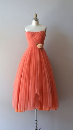Ceil Chapman dress / coral 1950s dress / vintage 50s door DearGolden