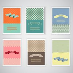 Collection of retro card Free Vector