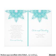 Modern aqua blue snowflake, white winter folded wedding ceremony and party program
