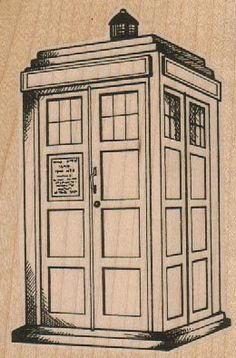 rubber stamp Blue Police Box by Susan M. Brown 2 3/4 x 4 retro vintage style  stamp    wood Mounted   rubber stamp    stamp number 19054 via Etsy