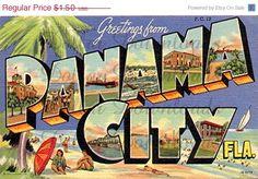 Greetings From Panama City Florida Vintage Digital Image by DollarDownloads, $1.20