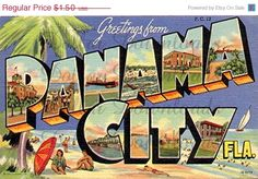 Greetings From Panama City Florida Vintage Digital Image by DollarDownloads, $1.20