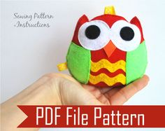 Christmas Owl Ornament, Rattle baby toy PDF Sewing