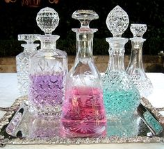 Vintage Crystal & Glass Decanters.