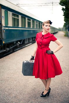 50's 60s style dress with large collar and glass buttons, bright red cotton blend