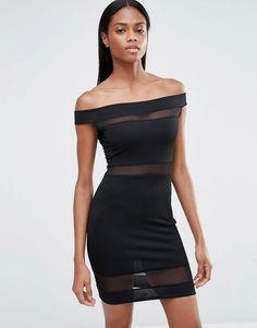Image 1 ofMissguided Mesh Insert Bardot Bodycon Dress