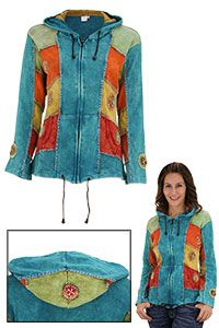 Sunburst Dreams Hooded Jacket at The Rainforest Site I love these jackets from Nepal that look to me like they are made from bits of old tee shirts in layers.