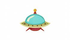 Retro UFO Includes Both Applique and Filled Stitch