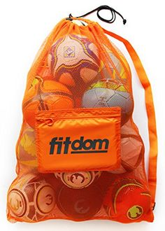 cool Extra Large Heavy Duty Soccer Ball Mesh Bag for Sports, Beach and Swimming Gears. Adjustable Shoulder Strap Made to Fit Adults and Kids. Secure Side Pocket for your Personal Item. 40x30 IN, Orange
