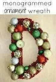 Monogramed ball wreath