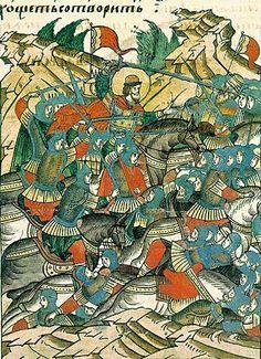 Невская битва  - Миниатюры Лицевого летописного свода. 16 век