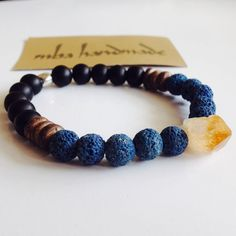 MEN'S GEMSTONE CITRINE POINT BLUE LAVA ROCK MATTE ONYX COCO WOOD BEADED BRACELET #MBAHandmade #Beaded