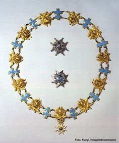 The Order of the Seraphim (Serafimerorden) is a Swedish order of chivalry created by King Frederick I on 23 February 1748, and is the foremost order of Sweden. Nowadays it is conferred exclusively on members of the Swedish Royal Family and on foreign heads of state or other persons of comparable rank. The insignia of the Order are the Collar, Badge and Grand Star. The Collar of the Order is only bestowed as a mark of special distinction.
