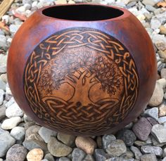 Celtic Tree of Life pyrography wood burned Gourd by JRAGourdArt