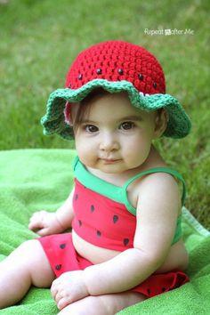Watermelon Sunhat free crochet pattern - 10 Free Watermelon Crochet Patterns