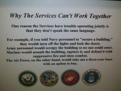 military humor :) Just FYI, I love the Air Force. They are fantastic.