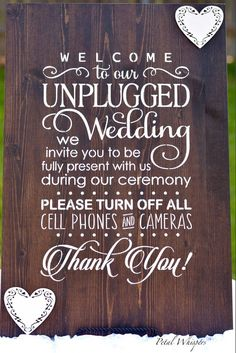 Wedding Unplugged Sign - Wood Wedding Sign - Rustic Wedding Decor - Unplugged Wedding Sign - Wedding Reception Sign by PetalWhispers on Etsy