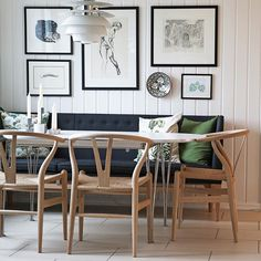 The Super-Elliptical table & The Wishbone Chair + PH Snowball Dining Room Table, Table And Chairs, Side Chairs, Dining Area, Dining Rooms, Inspiration Wall, Scandinavian Style, Feng Shui, Colorful Interiors