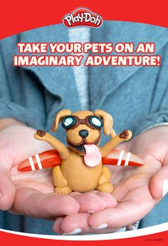 This pup is ready to take off! Can your kids imagine something even crazier? With Play-Doh compound, they can take their pets—or at least sculpts of them—on an  imaginary adventure. Have your kids flex their imagination muscles by asking them to create an adventure with Play-Doh creations!