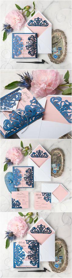 Navy, Pink & White Laser cut lace Wedding Invitations - elegant and romantic #lace #romantic #elegant #weddingstationery #weddinginvites #weddingideas