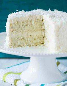 Ina´s Coconut Cake  3/4 lb softened butter in mixing bowl 2 c. Sugar - cream together @ med. speed Add 5 extra large eggs - one at a time &  1 1/2 tsp. Vanilla 1 1/2 tsp Almond Extract - adding to bowl - mix.  Sift together dry ingredients 3 c. Flour 1 tsp baking powder 1/2 tsp baking soda 1/2 tsp salt  Add alternately with 1 c. Milk & approximately 1/3 of dry mixture - ending with flour  Fold batter in bowl to ensure bottom is thoroughly mixed - add 4 oz. Coconut - fold in.  Divide between…