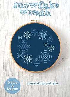 :: This listing is for an instant-download PDF-PATTERN. :: Snowflake Wreath is an enchanting array of delicate snowflakes. The design is distinctly modern, with a tip of the hat to classical wintertime cheer. We know youll love it, every stitch of the way! This pattern is perfect for