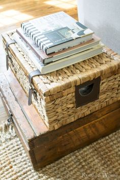 Wicker-trunk-stacked-on-antique-box-for-easy-side-table