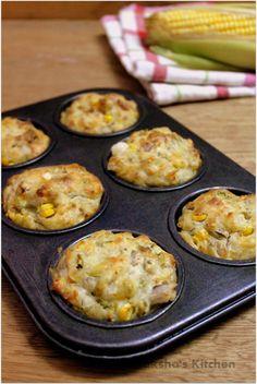 Savory Veggie Corn Cheese Muffins - Raksha s Kitchen Savoury Vegetable Muffins, Savory Scones, Savory Muffins, Corn Muffins, Cheese Muffins, Raisin Muffins, Breakfast Muffins, Breakfast Ideas, Veggie Snacks