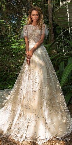 crystal design 2018 short handkerchief sleeves jewel neck full embellishment romantic bohemian a line wedding dress sheer lace back chapel train (tammy) mv -- Crystal Design 2018 Wedding Dresses