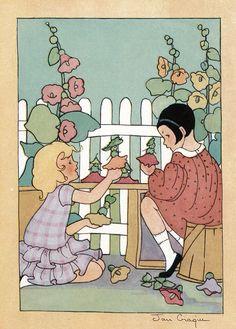 Hollyhock dolls by Jan Cragin. I remember making these with my sister. Mom always grew hollyhocks. Vintage Children's Books, Vintage Cards, Vintage Postcards, Children's Book Illustration, Book Illustrations, Hollyhock, Black And White Illustration, Little Doll, Childrens Books