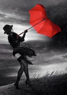 dreamies.de - Deine kostenlose Bildercommunity Color Splash, Color Pop, Colour, Walking In The Rain, Singing In The Rain, Foto Glamour, Arte Black, I Love Rain, Umbrella Art