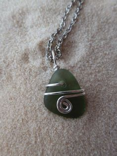 Wire wrapped green sea glass necklace by atreasurefromthesea, $18.99