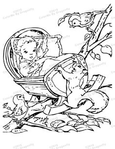 newborn baby and cradle in treetop and baby will fall adult coloring page squirrel and bird friends vintage juvenile print color