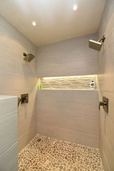 Two person shower with LED Shower Niche Bad Inspiration, Bathroom Inspiration, Bathroom Layout, Bathroom Interior, Bathroom Ideas, Shower Ideas, Bathroom Remodeling, Bathroom Organization, Remodeling Ideas
