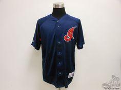 Mens Majestic Cleveland Indians Button Up Baseball Jersey sz L Large SEWN MLB #Majestic #ClevelandIndians #tcpkickz