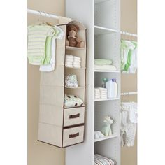 Hanging Baby Storage Organizer With Shelves Hanging Baby Storage Organizer. Makes A Great Baby Shower Gift! Hanging storage with Velcro top secures and easily adjusts to most standard closets. Closet Rod, Closet Shelves, Room Closet, Closet Storage, Storage Shelves, Storage Spaces, Shelf, Baby Storage, Storage Drawers